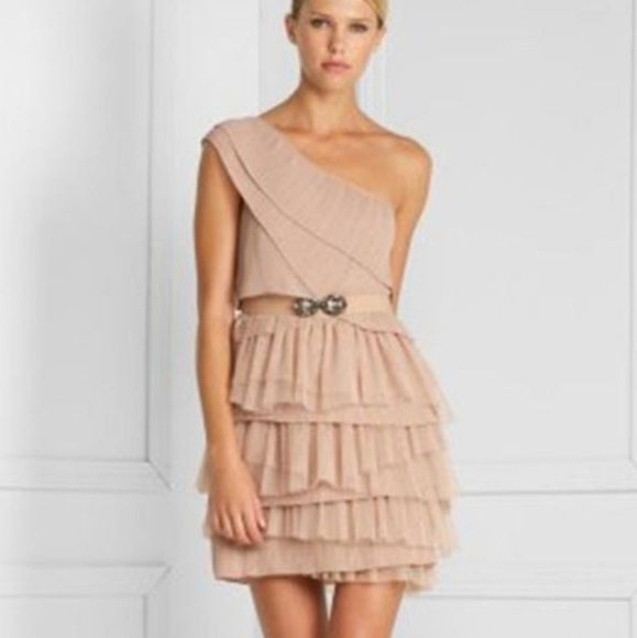 BCBGMaxAzria Dresses & Skirts - BCBG MAXAZRIA one shoulder tulle tiered dress